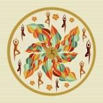 Human leaves yoga mandala. — Stock Vector #29913853