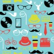 Colorful retro hipsters icons seamless pattern. — ストックベクタ