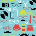 färgglada retro hipsters ikoner seamless mönster — Stockvektor