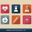 Medical health flat icons set — Stock Vector