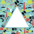 Vintage hipsters icons triangle. — Stock Vector