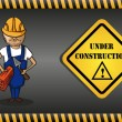 Constructor man cartoon, under construction sign. — Stock Vector #29914265