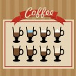 Retro coffee cups set poster. — Stock Vector