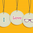 Hanging i love hipsters badges  — Stock Vector