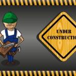 Wood worker cartoon, under construction sign. — Stock Vector #29915095
