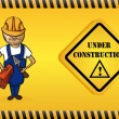 Constructor man cartoon, under construction sign. — Stock Vector