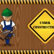 Carpenter man cartoon, under construction sign. — Stock Vector #29915609