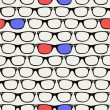 Hipsters retro 3D Glasses seamless pattern. — Stock Vector