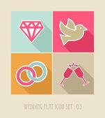 Wedding flat icon set. — Stock Vector