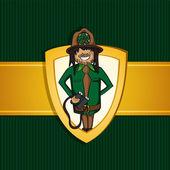 Service park ranger man cartoon shield symbol. — Stock Vector