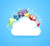 Cloud storage glossy app icons. — Stock Vector