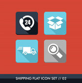 Shipping flat icons set. — Stock Vector