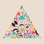 Retro hipsters icons triangle. — Stock Vector