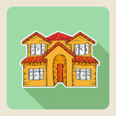 Hand drawn real estate family house — Stock Vector