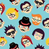 Colorful vintage hipsters faces seamless pattern. — Stock Vector
