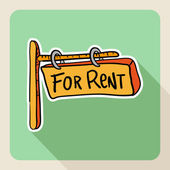 "Hand drawn ""for rent"" post sign — Stock Vector"