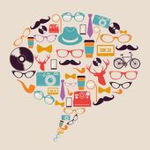 Retro hipster icons social media. — Stock Vector