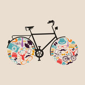 Vintage hipsters icons bike. — Stock Vector