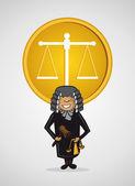 Symbole de la justice service juge man dessin animé. — Vecteur