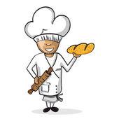 Profession baker worker cartoon figure. — Stock Vector