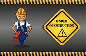 构造函数的男人卡通,根据施工标志. — 图库矢量图片