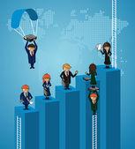 бизнес карта мира коллективная работа шаги людей. — Cтоковый вектор