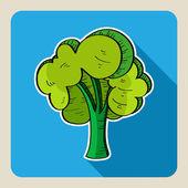 árbol verde dibujado a mano. — Vector de stock