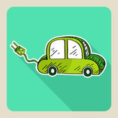 Sketch style green electric car. — Stock Vector