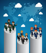 Global map business teamwork ranking. — Stock Vector