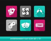 Entertainment flat icons set. — Stock Vector