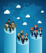 World map business teamwork ranking. — Stock Vector