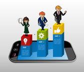 Smart phone app business infographics — Stock Vector