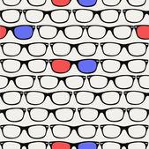Bokovky retro 3d brýle bezešvé vzor. — Stock vektor