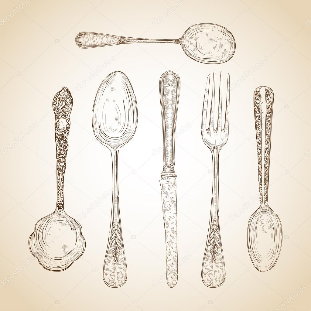 复古餐具手绘集