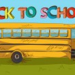Back to school text colorful School bus cartoon. — Stock Vector