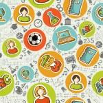tillbaka till skolan ikoner utbildning seamless mönster — Stockvektor