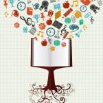 Образование красочные иконки книга дерево — Cтоковый вектор