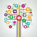 Обратно в школу плоский иконы образования сети дерево — Cтоковый вектор