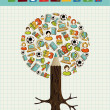 Education icons pencil tree. — 图库矢量图片
