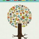 utbildning ikoner penna träd — Stockvektor