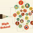 Back to school icons education pencil. — Vektorgrafik