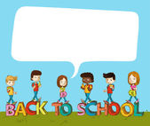 Back to school kids over text with social bubble. — Stock Vector