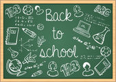 Education back to school icons over green chalkboard. — Stock Vector