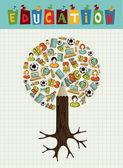 Education icons pencil tree. — Stock Vector