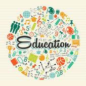 Bildung kreis farbigen ikonen. — Stockvektor