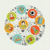 Detrás de la educación a la escuela coloridos iconos sociales. — Vector de stock