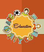 Education label back to school icons. — Stock Vector