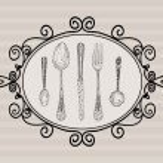 Retro cutlery elements sketch style set — Stock Vector