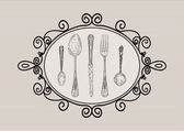 Retro cutlery elements sketch style set — Stock Vector