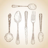 Vintage cutlery hand drawn set — Stock Vector